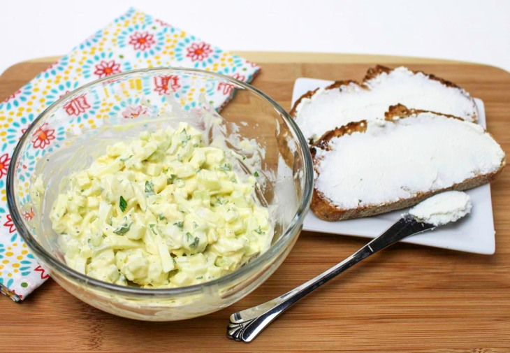 Crunchy Egg Salad with Goat Cheese Toast