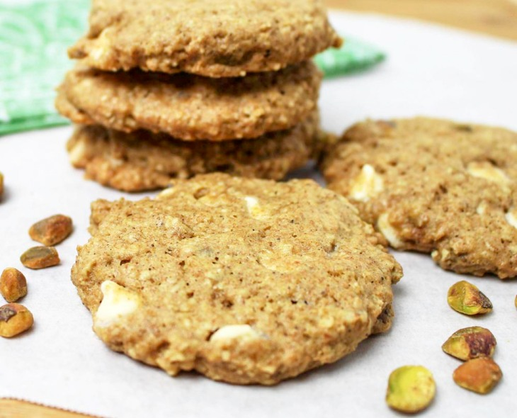 Pistachio Oatmeal Cookies with White Chocolate Chips