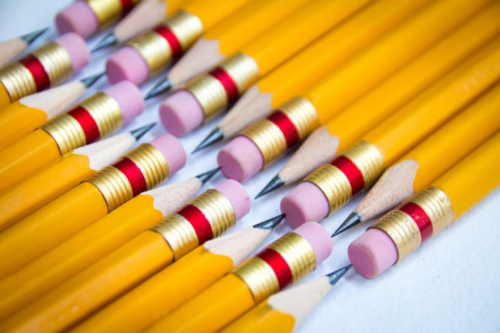 Detail photograph of some wood yellow pencils