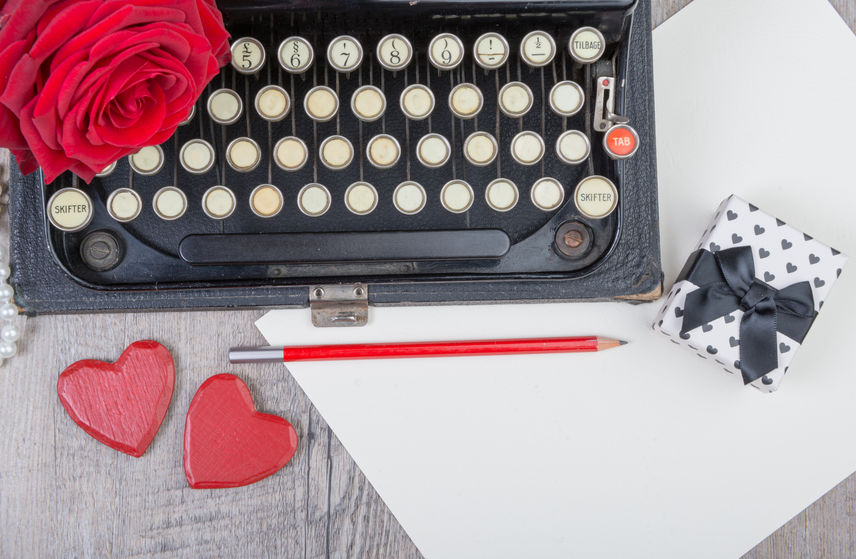 Old Typewriter with Red Rose and Hearts