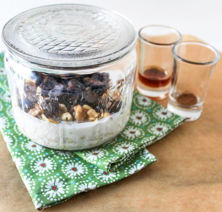 Yogurt, Dried Plums and Walnuts Refrigerator Oatmeal