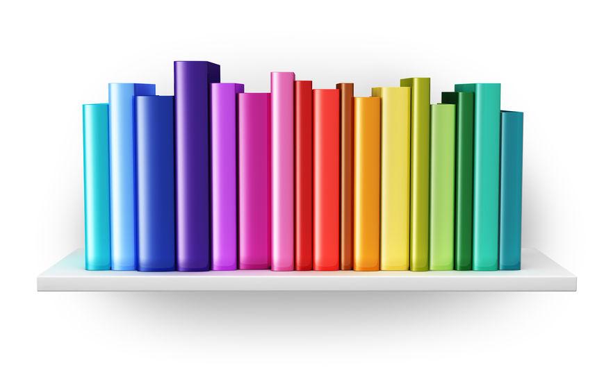 Rainbow Colored Bookshelf