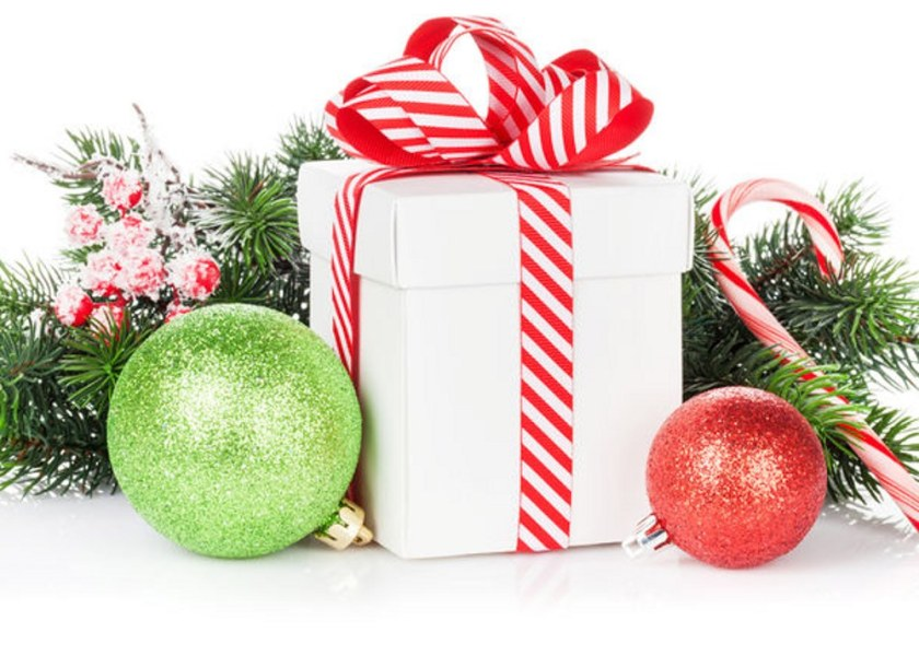 Christmas gift box, baubles and candy cane