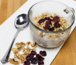 Spicy Apple and Cranberry Regrigerator Oatmeal With Walnuts