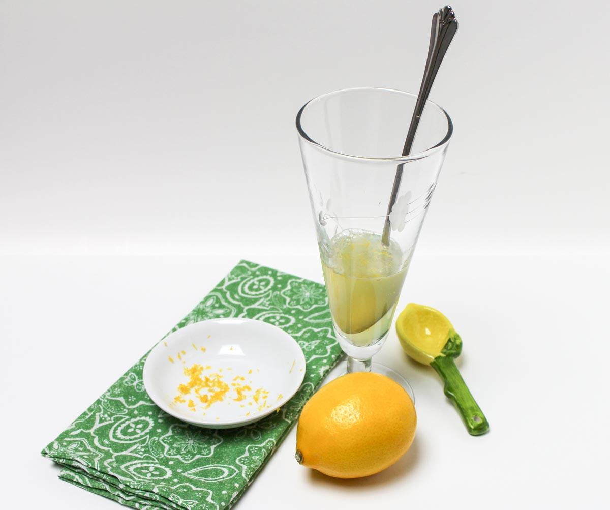 Meyer Lemon Sparkling Water Beverage with a Little Honey