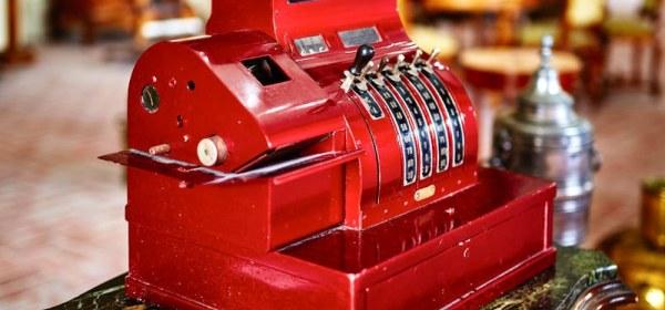 Red Old-Time Cash Register