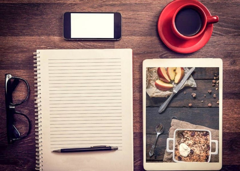 Office and Love Concept with Photos of Apple Crumble