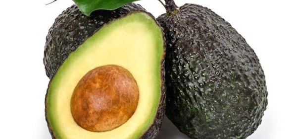 Fresh Avocados Two Whole and One Halved