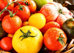 Assortment of colorful heirloom tomatoes