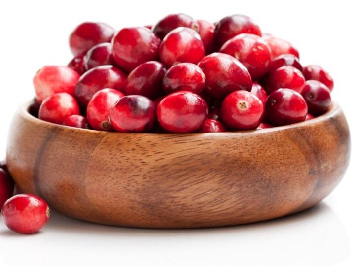 Fresh Cranberries in Wooden Bowl