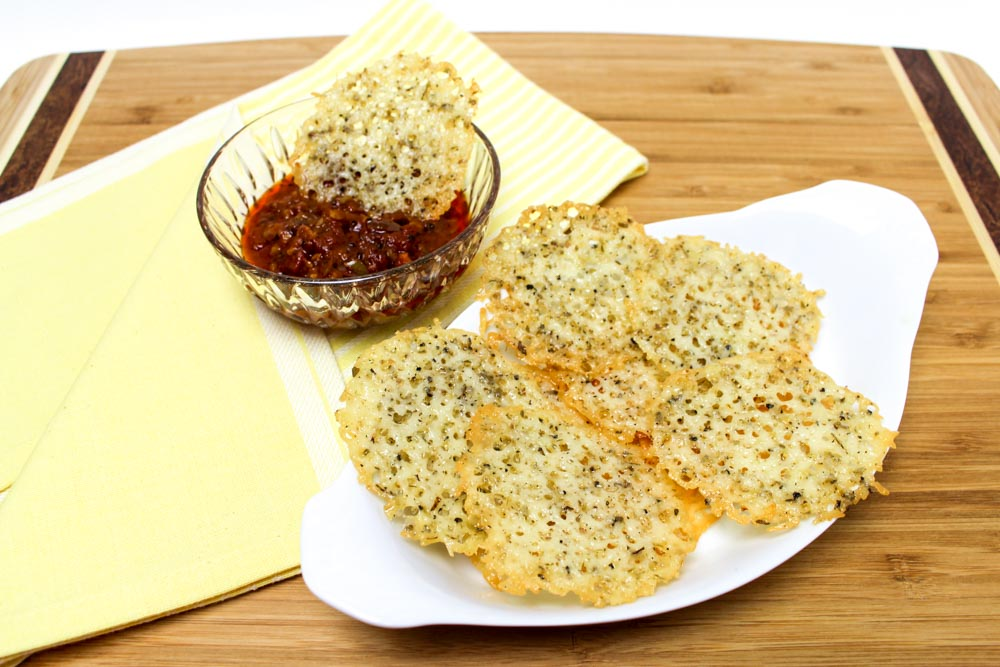 Baked Asiago Cheese Crisps with Marinara