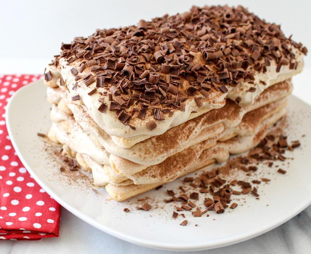Chocolate, Coffee and Cream Tiramisu Cake