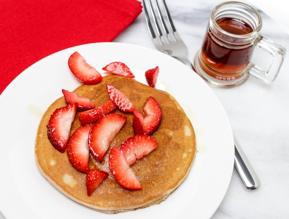 Simple Melted Ice Cream Pancakes with Strawberries