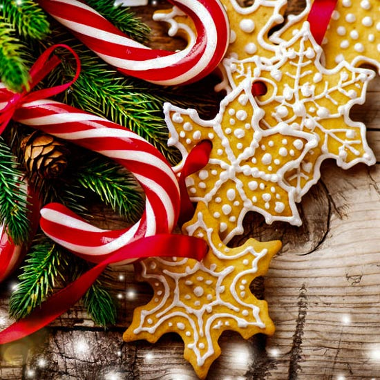 Christmas Background with Christmas Cookies and Candy Canes