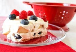 Red Raspberry, White Nectarine and Blueberry Icebox Cake