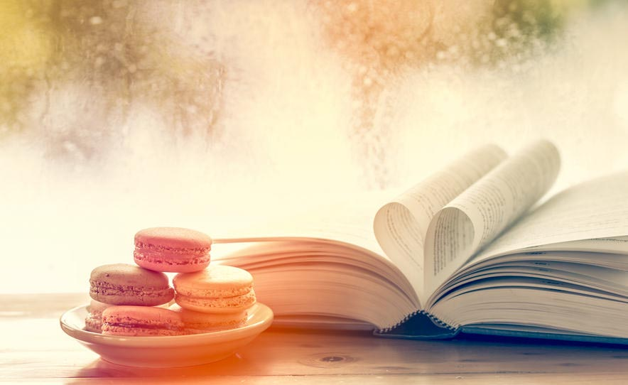 Colorful Macaroons and Heart Book Page on Rainy Day