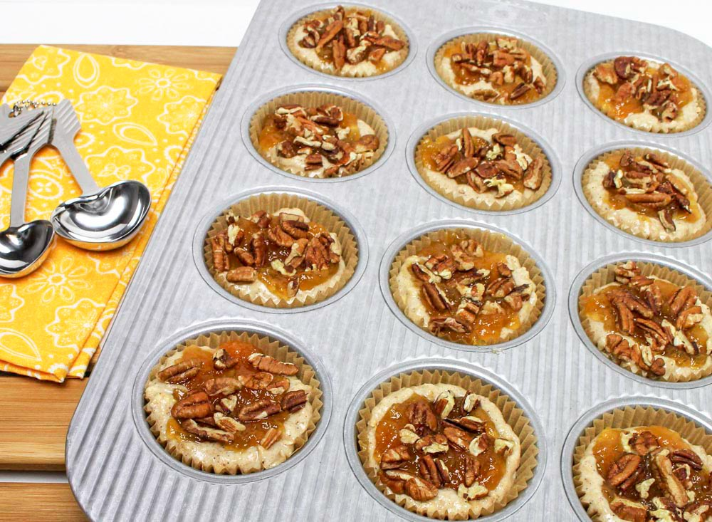 Apricot Jam and Banana Oatmeal Muffins with Pecans