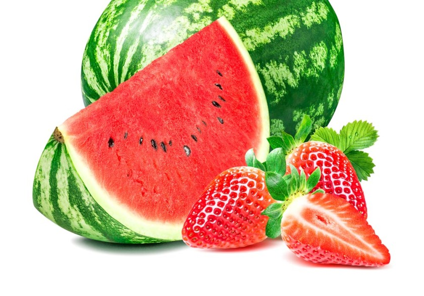 Whole watermelon and slice with strawberries