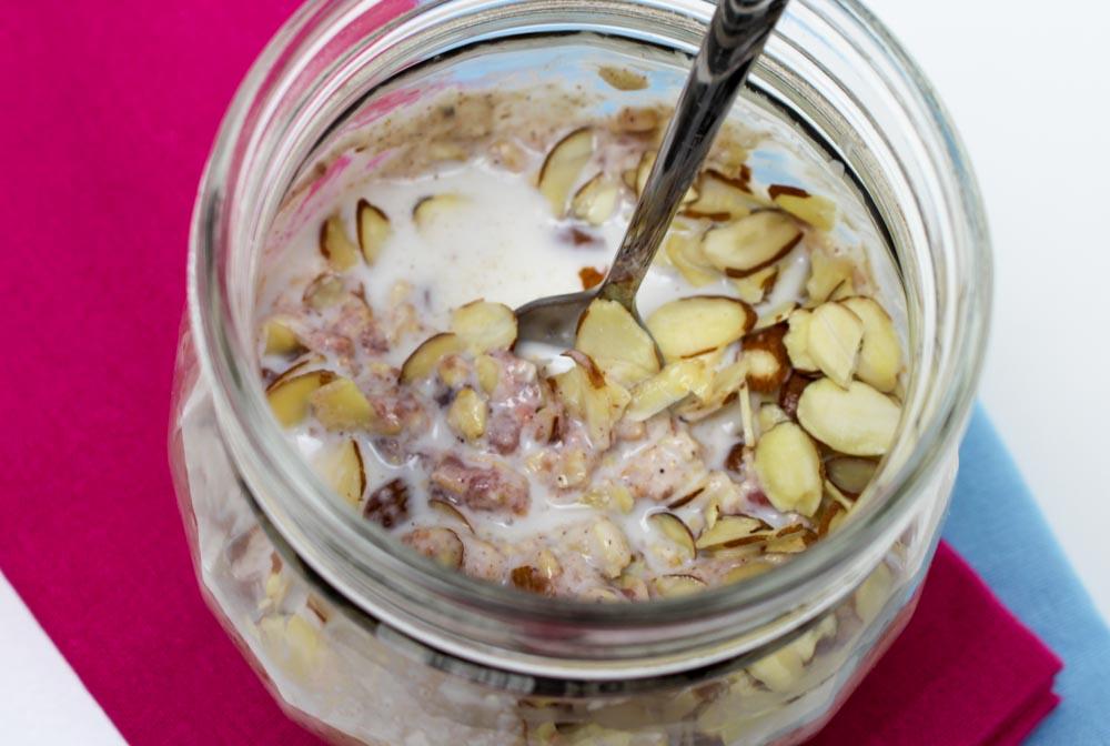 Honey Raspberry Refrigerator Oatmeal with Almonds
