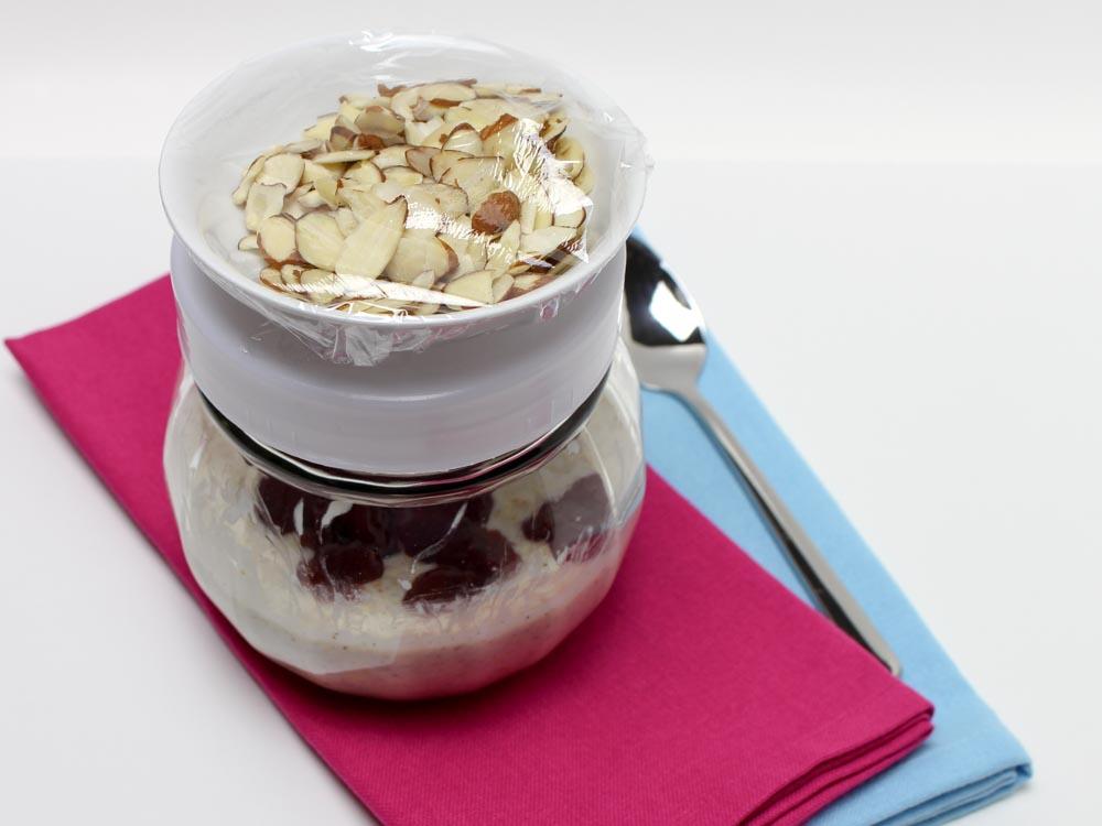 Raspberry Lemon Refrigerator Oatmeal with Almonds