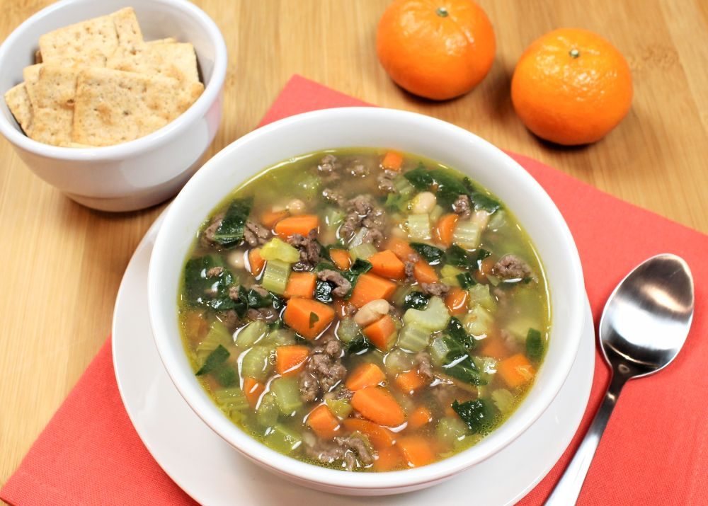 Quick Navy Bean, Beef and Veggie Soup
