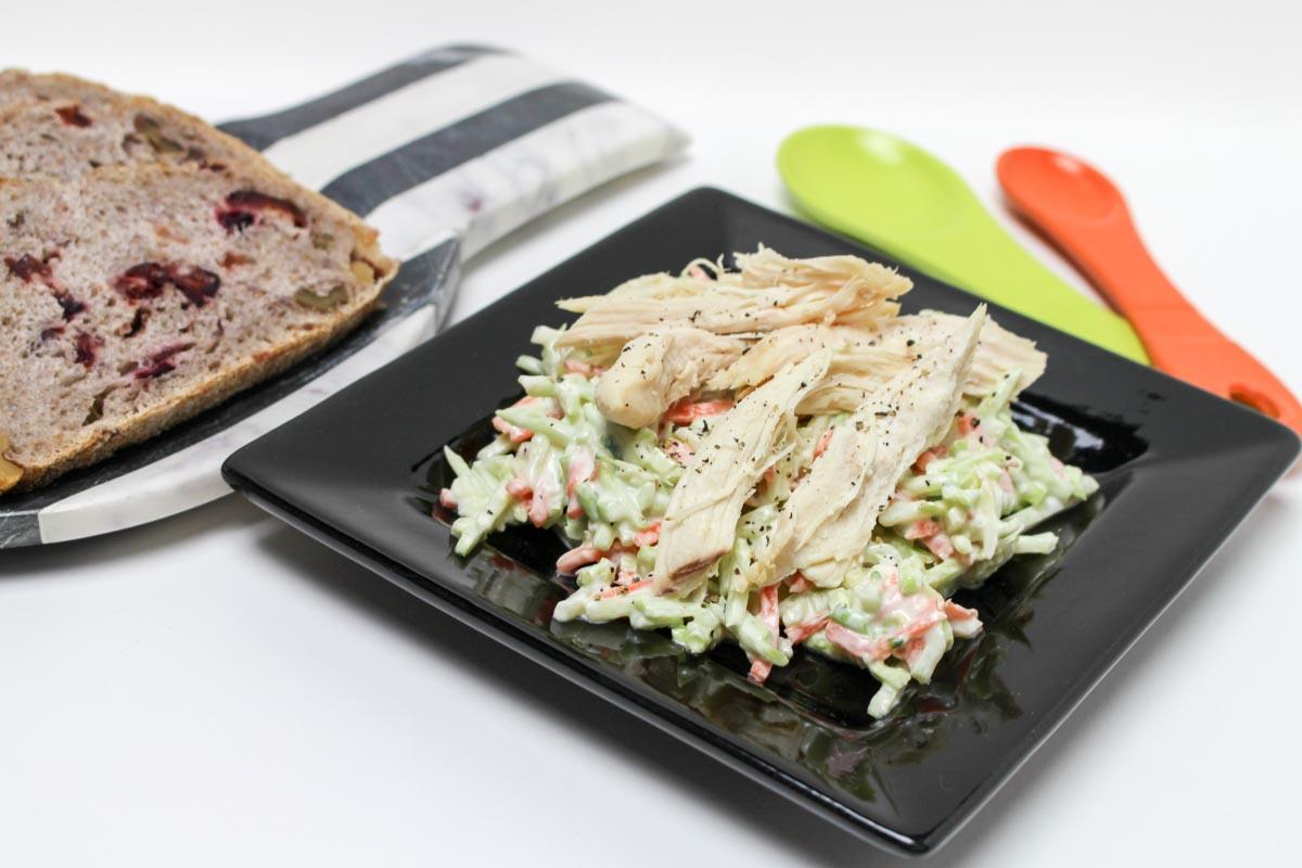 Easy Healthy Broccoli Slaw Salad with Shredded Chicken