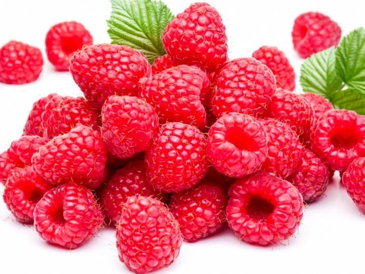 Ripe Raspberries Isolated