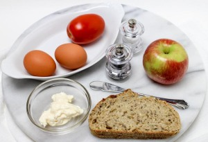 Soft-Cooked Egg and Sliced Tomato Breakfast Toast