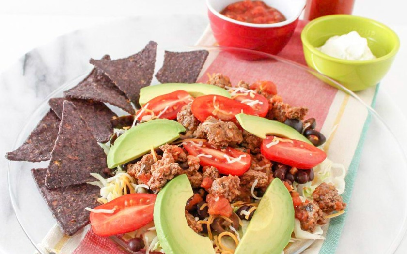 Cabbage Taco Salad With No-Salt-Added Blue Corn Chips