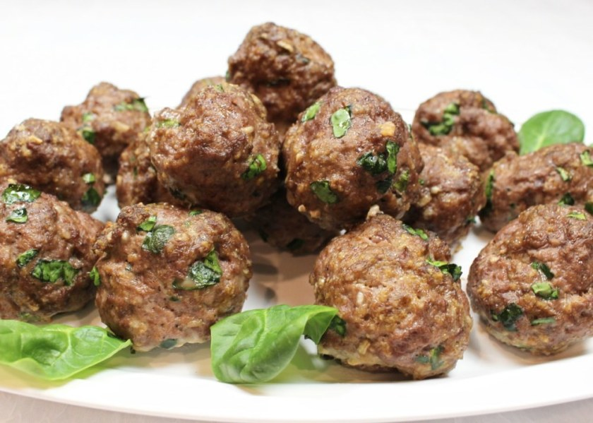 Baked Ground Beef Spinach Meatballs